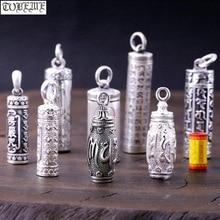 100% 990 argento Buddista della Scatola di Preghiera Del Pendente Argento Puro Argento Tibetano Gau Box Ciondolo Reale Argento Tibetano Ghau Box Ciondolo