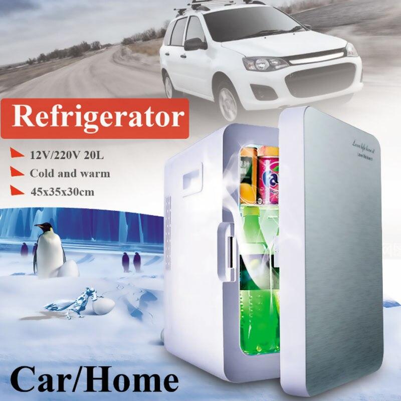Portable 20L voiture usage domestique Mini réfrigérateur refroidisseur plus chaud à double usage réfrigérateur boîte contrôle de température 12 V/220 V