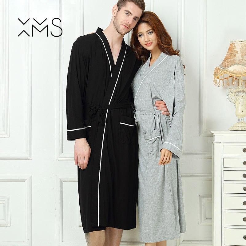 XMS Brand Bamboo Men s Stain Robe Cotton Bathrobe Men Sleepwear Modern  Style Nightgown Satin Soft For Sleep Valentine s Day b134adbca