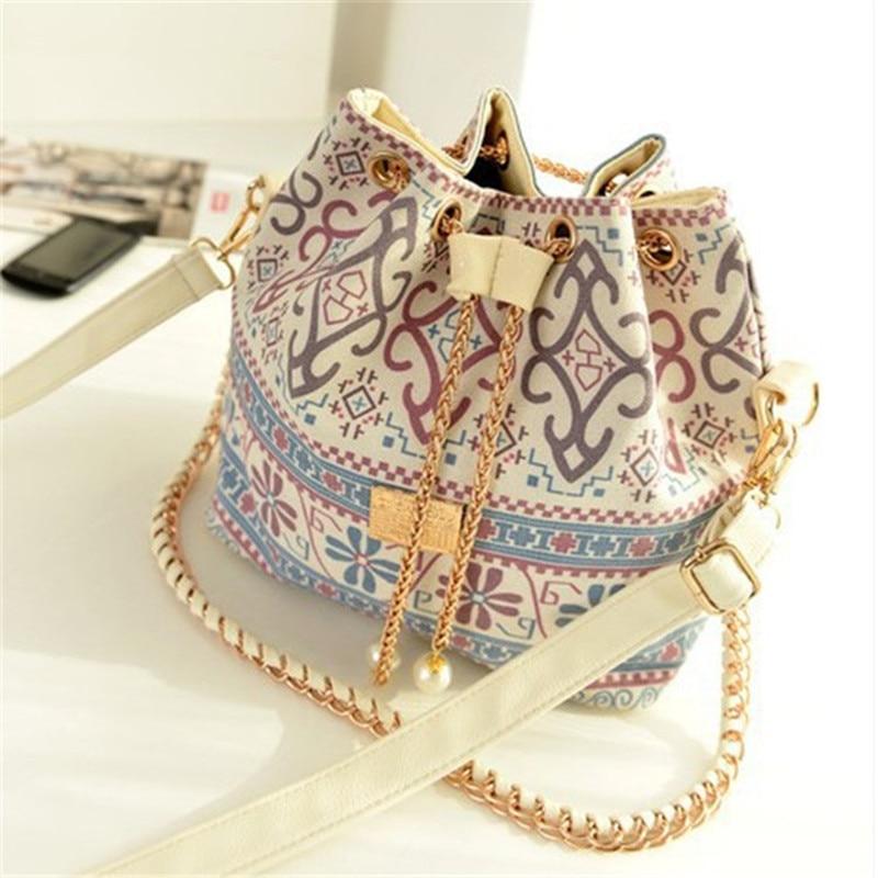 Bucket Bags National Wind Pearl Pendant Chain Bags Ladies Shoulder Messenger Handbag