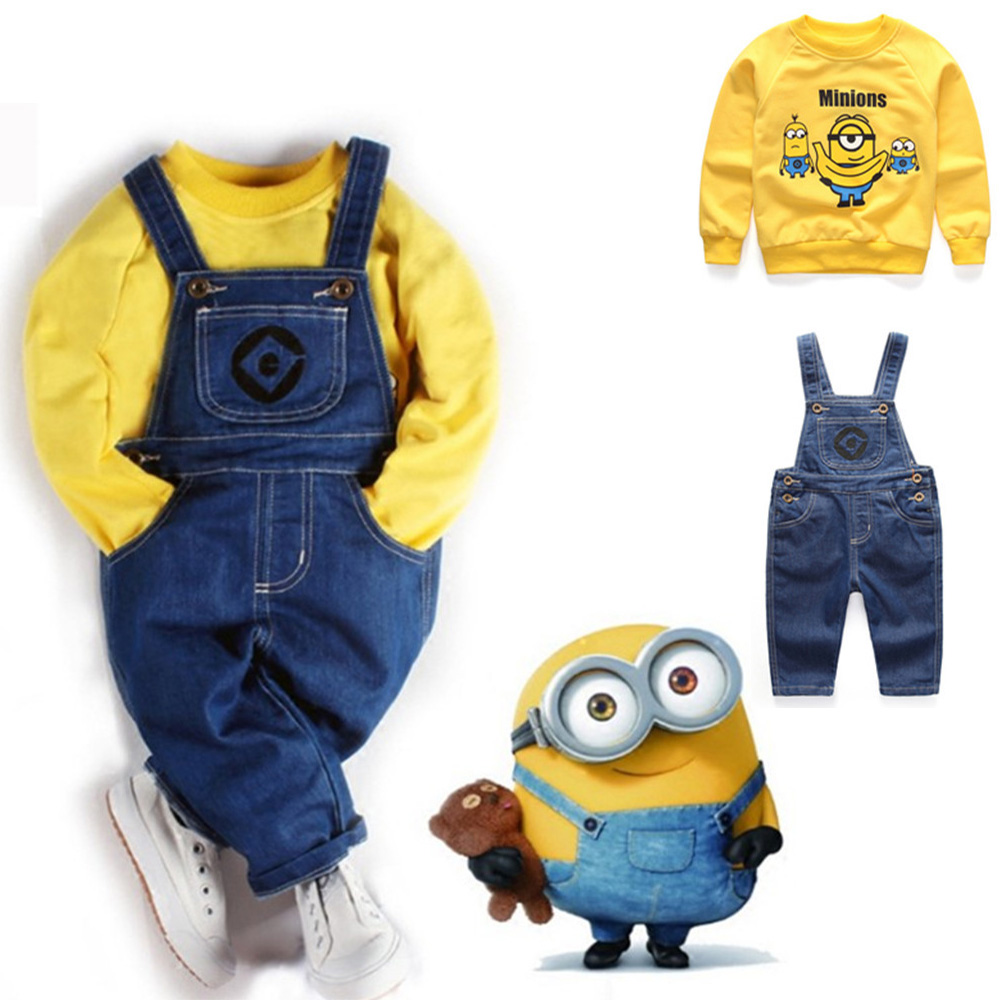 New Role-playin Selling Minion Hero Of Children Kids Costume Minion Sweatshirts Cosplay Baby Denim Overalls Minions Sweater Suit
