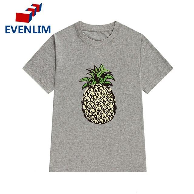 27513db71 EVENLIM Feminino Camiseta Mulher Roupas de Verão T shirt Impressão Frutas Abacaxi  T-shirt Casual
