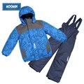 Inverno meninos roupas set 2015 novo moomin crianças esporte ativo ski terno Turn-down Collar de Down & Parkas rosa Com Zíper meninos outwear