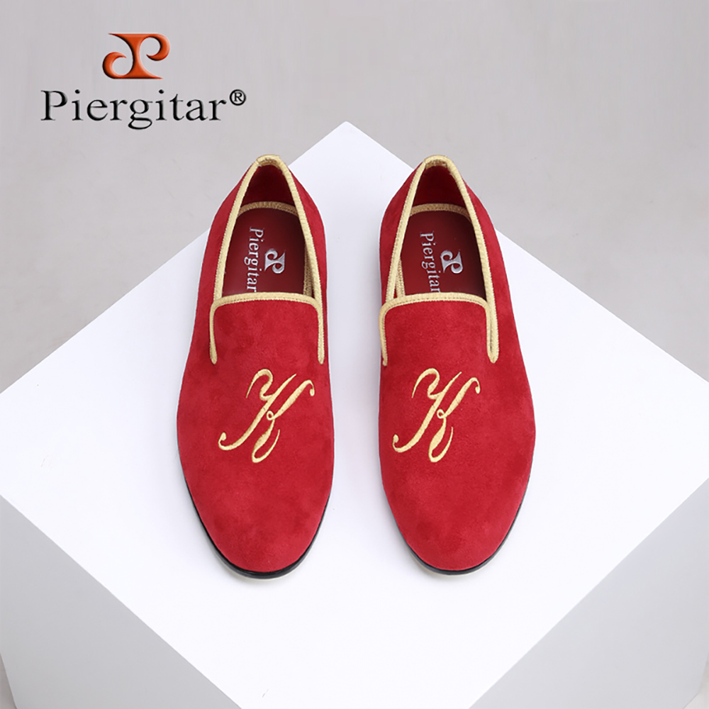 Piergitar 2018 New style men suede shoes with custom personality letters embroidered Wedding and Prom men