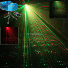 Remote Mini R&G Laser Full Stars Sky Pattern Projector Club Bar Coffee Shop Dance Disco Home Party Xmas DJ Light Tripod N2R1