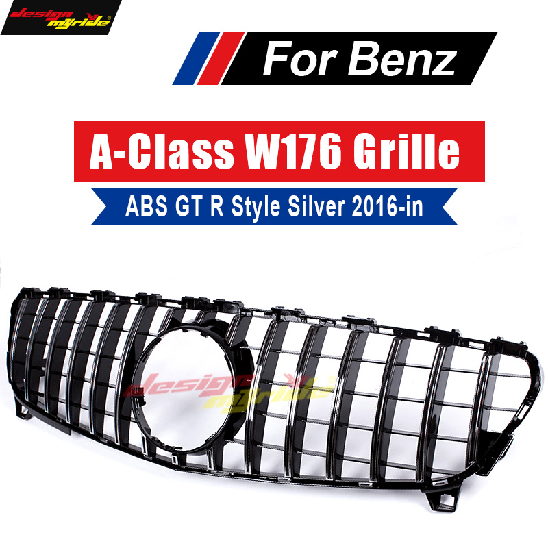For Mercedes Benz W176 Grille GT R Style Sliver ABS Front Bumper Grills 2016 in A