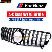 For Mercedes Benz W176 Grille GT R Style Silver ABS Front Bumper Grills 2016-in A-Class A180 A200 A250 Without sign Front Grille