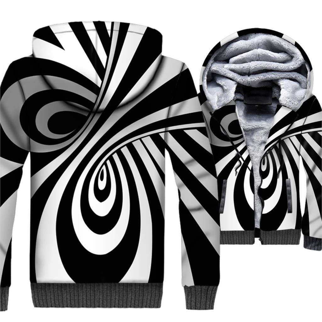 men turn-down collar rib sleeve jackets coats 2019 winter new Spiral pattern 3D print jacket man's hip-hop hooded clothing homme