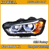 2 Ps Car Headlights For BMW X1 Headlight 2016 2017 2018 x1 Head lamp LED Angel Eyes DRL Hi Low Beam Bi Xenon Lens HID Front lamp
