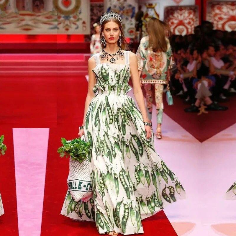 Runway Designer A line Dress 2018 Summer Bohemian Women s Maxi Long Luxury Pea Print Female