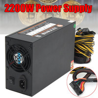 2200W Mining Case Miner Power Supply Support 8 Card SATA Port Connectors For Bitcoin Ethereum ZEC