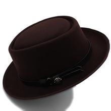 Модная женская фетровая шляпа со свининой, шляпа для леди, церковная шерстяная фетровая шляпа, шляпа для геймера, Панама, шляпа Трилби, размер 58 см