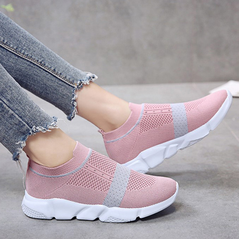 Women Stretch Knitting Sneakers Slip-On Flat Casual Sock Shoes Platform Female Valcanized Breathable Shoes Plus Size 43 XWC1536Women Stretch Knitting Sneakers Slip-On Flat Casual Sock Shoes Platform Female Valcanized Breathable Shoes Plus Size 43 XWC1536