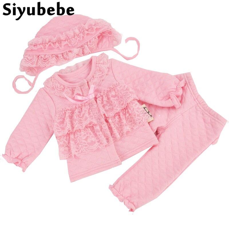 Winter Newborn Baby Girl Clothes Set 3pcs Lace Princess Dress Cotton Ropa Bebe Tops & Pants & Hats Cotton Infant Baby Clothing