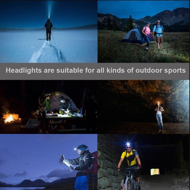 Super bright LED headlamp 3xT6 led headlight Waterproof fishing lamp 4 lighting modes camping lamp use 18650 battery 6