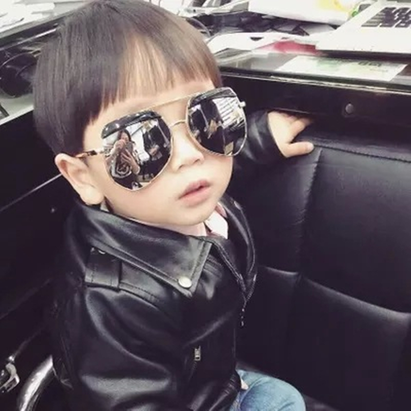 Kids Sunglasses Little Boys Girls Oversized Sun Glasses Brand Designer Vintage Hypotenuse Alloy Big Frame Spectacles UV