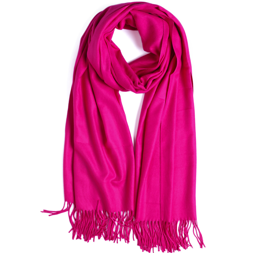 Fashion Cashmere Scarf Shawl Solid Autumn Winter Wrap Warm High Quality Soft Hijab Thick Women Pashmina Wool Luxury Fuchsia