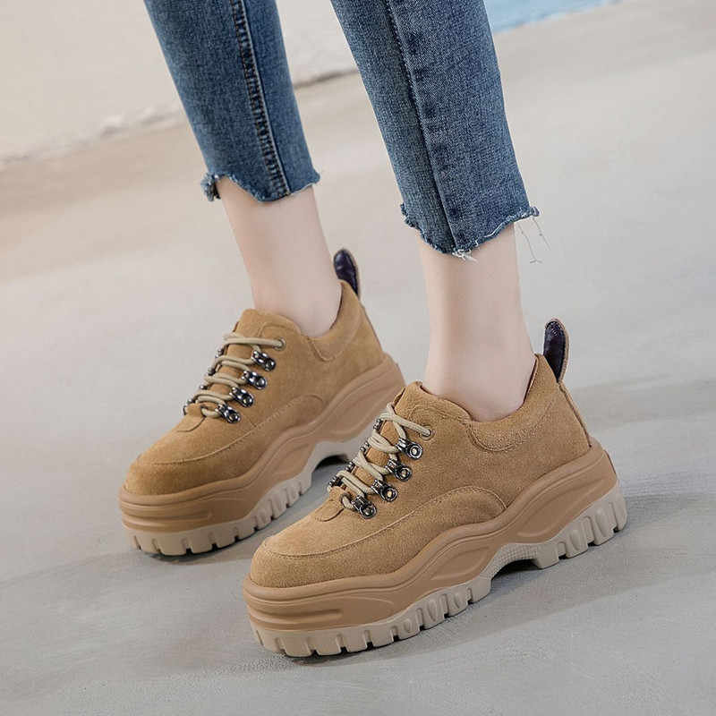 Flat Shoes Women Genuine Leather Sneakers Woman Casual Sneaker For Women  Platform Sneakers 2019 Spring Autumn 5bbcdf3acd0f