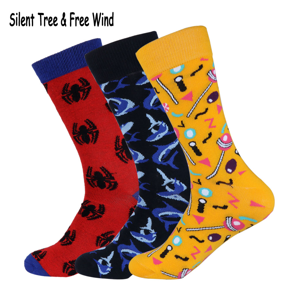 Harajuku Men Crew Socks Funny Colorful Lollies Lollipop Loll Candy Spider Shark Ocean Animal Cotton Gift Long Sock