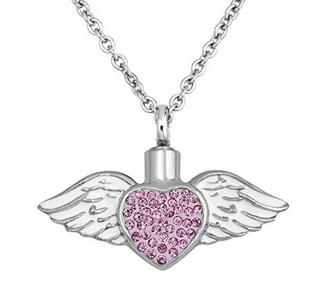 Pink Crystal Heart Urns Necklace White Angel Wings