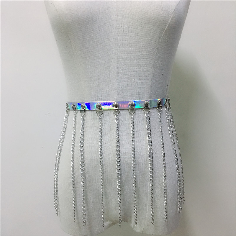 Goth PU Leather Long Tassel Mini Skirts Metal Rivets Link Chain Holographic Skirt Women Sexy Party Clubwear Rave Festival Skirts