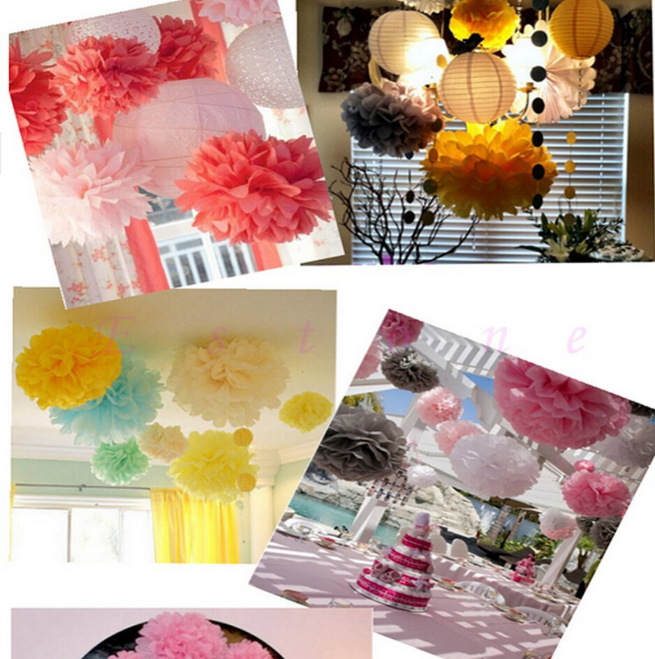 Popular hanging paper flowers buy cheap hanging paper for Baby shower wall decoration