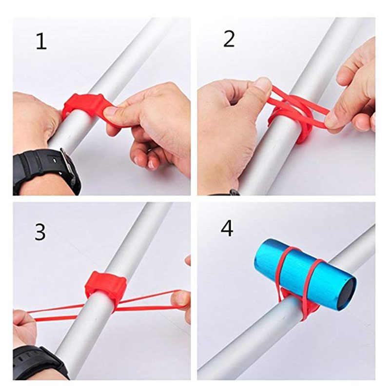 2 Pcs MTB Radfahren Fahrrad Silikon Band-Licht Taschenlampe Telefon Strap Tie Band Halterung