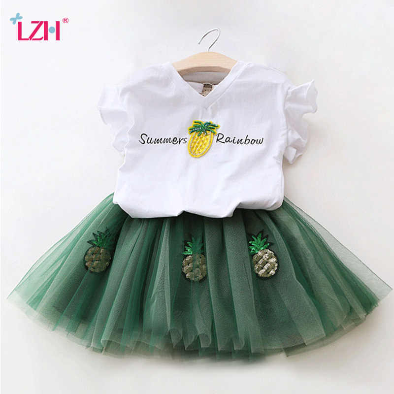 12ccfc84ad7 Children Clothing 2019 Summer Toddler Girls Clothes T-shirt+Skirt 2pcs Kids  Clothes Sport