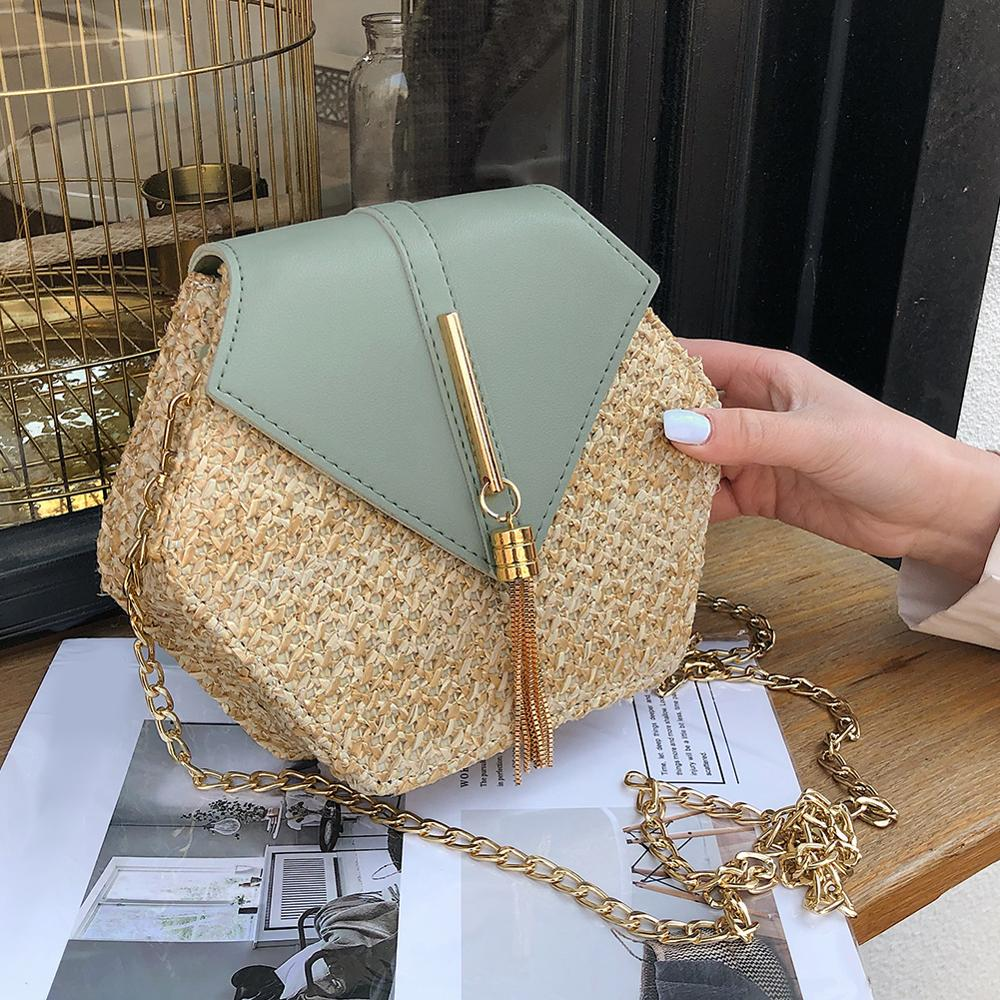 Hot Hexagon New Mulit Style Straw+PU Chain Messenger Bags Women Summer Rattan Handmade Woven Beach Boho Bags Bolso Feminina