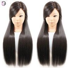 Nova Fêmea Chegada 26 polegada Dark Brown Hair Styling Hairdressing Training Cabeça Maniqui Mannequin Cabeça Da Boneca Com Frete Estande Titular