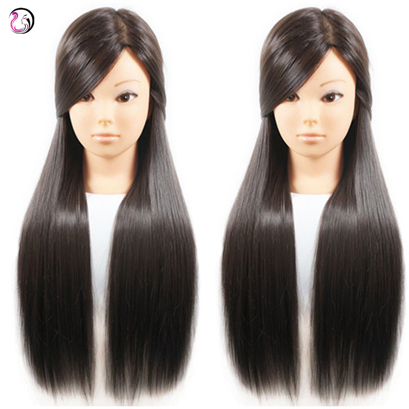 New Arrival Female 26 inch Dark Brown Hair Styling Mannequin Head Maniqui Hairdressing Training Doll Head With Free Holder Stand