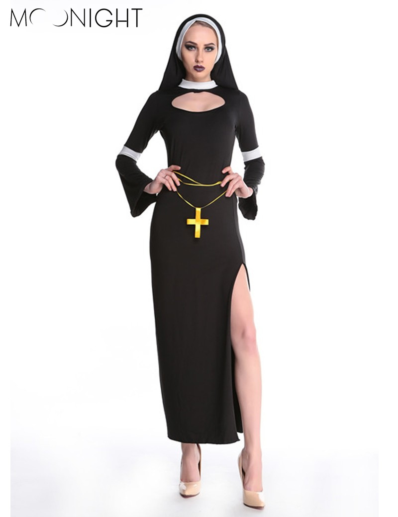MOONIGHT Sexy Nun Costume Adult Women Cosplay Dress With Black Hood Halloween Costume Cosplay Party Costume