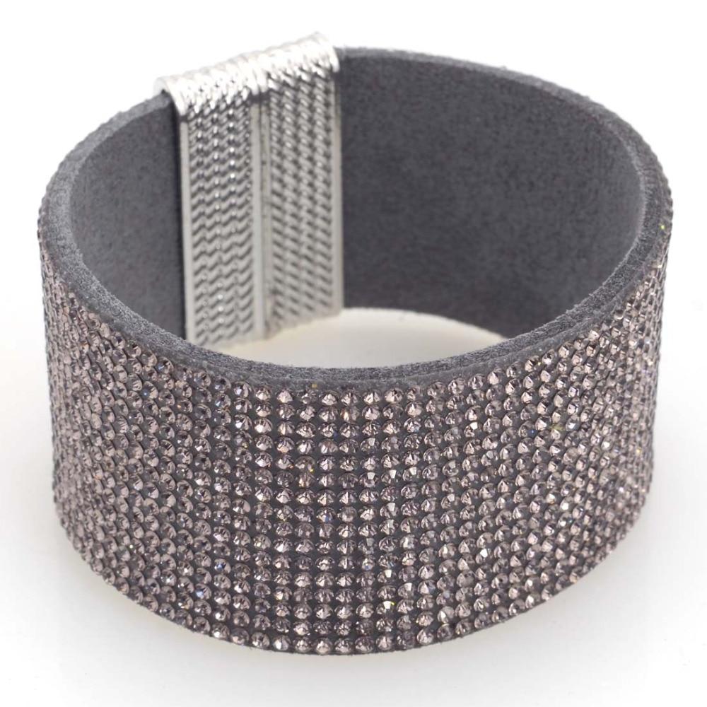 Us 2 98 25 Off Magnetic Wrap Crystal Bracelet Full Rhinestone Bling Leather B1489 In Strand Bracelets From