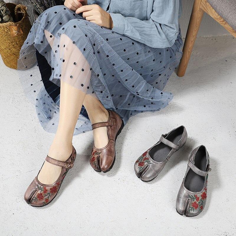 D'origine Cuir gray Bout Main Semelle Chaussures Artdiya écrêtage Femmes Broder À Plate Appartements Folk Véritable Mère Doux La En Style Nouveau Coffee XiTuwOkPZl
