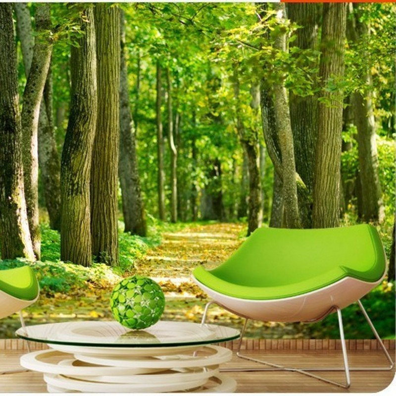 Beibehang custom 3d photo wallpaper natural photo green for Tree wallpaper bedroom