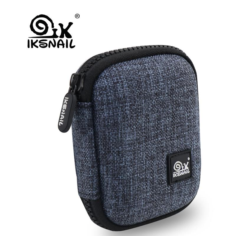 IKSNAIL Canvas+EVA Earphone Box Electronic USB Headphone Accessories Earbuds Hard Case Storage Bag SD Card Portable Carry Bag