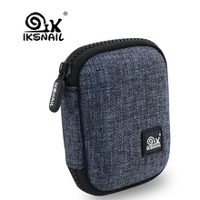 IKSNAIL Canvas+EVA Earphone Box Electronic USB Headphone Accessories Earbuds Hard Case Storage Bag SD Card Portable Carry