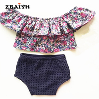 New Style 2016 Summer Small Broken Flower Baby Girls Clothes Set Cotton Suit Set Kids Clothing