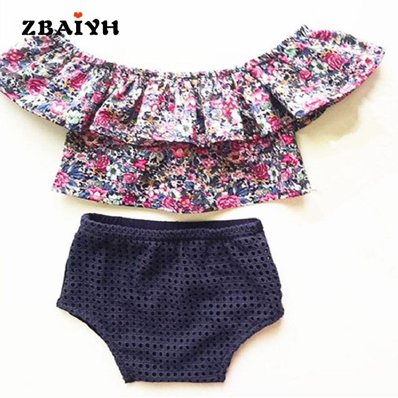 Baby Girls Clothes Sets Newborn Summer Print Cotton Casual Sports Suit Kids Outfits Infant sets T-shirt+Shorts Children Clothing