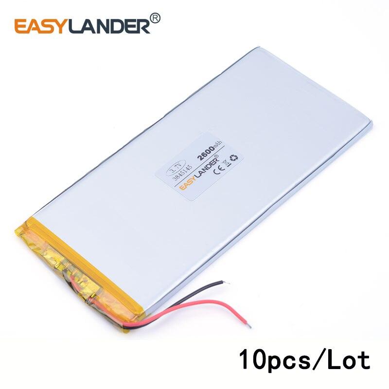 10 pcs/Lot 3845145 2600 mah 3.7 v lithium Li ion polymère batterie rechargeable jouets mp3 MP4 MP5 haut-parleur E-book tablette pc PAD