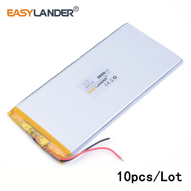 10pcs /Lot 3845145 2600mah 3.7v lithium Li ion polymer rechargeable battery toys mp3 MP4 MP5 Speaker E-book tablet pc PAD