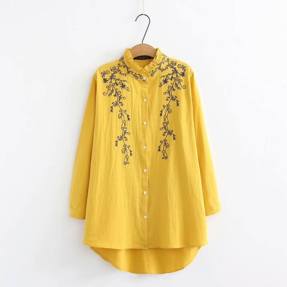 157a608f8 Blusas de manga larga con cuello con volantes de talla grande para mujer  2019 camisa bordada blanca y azul oscuro y amarilla primavera y otoño  señoras tops