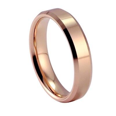 High polised tungsten plain ring plated 18K rose gold plain