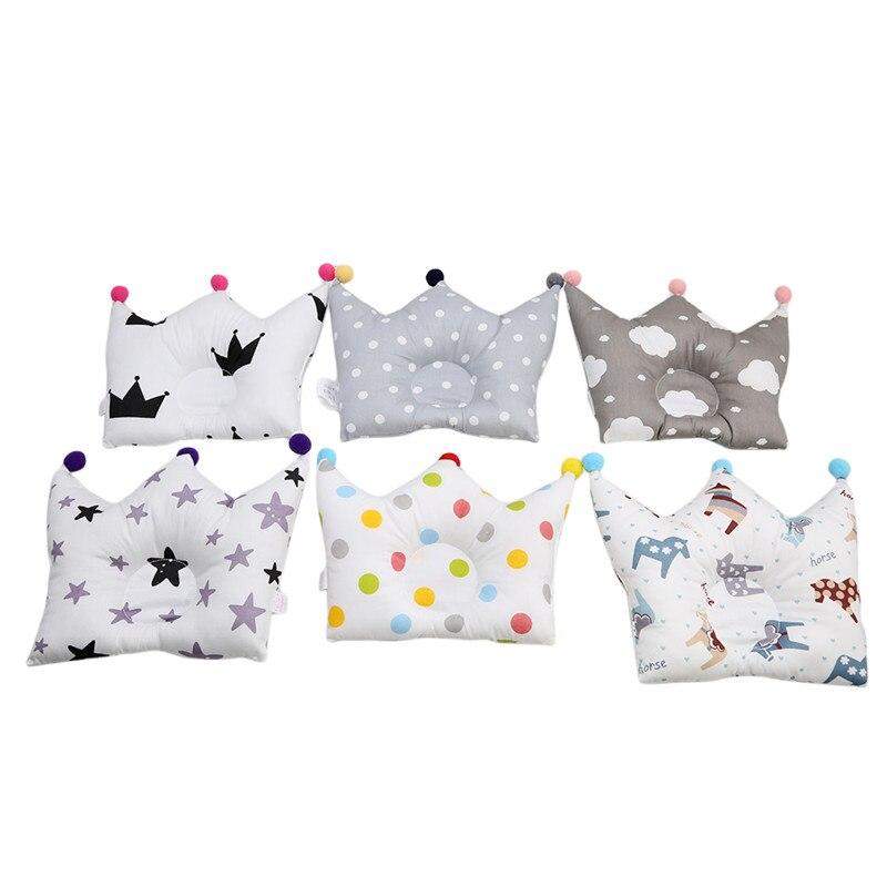 Pillow Newborn Boy Girl Sleeping Bedding Baby Forming Pillow Cotton Pillow Prevent Flat Head Baby Cute Crown Shape