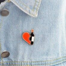 1 Набор, металлические значки в форме сердца и вина, безопасные булавки для одежды, значки, модная брошь, значки на рюкзаке, декоративные Броши CP1820