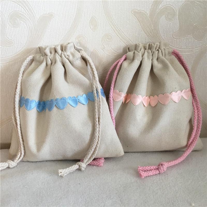 YILE Cotton Canvas Drawstring Multi-purpose Organizer Pouch Party Gift Bag Heart Trim 8410D