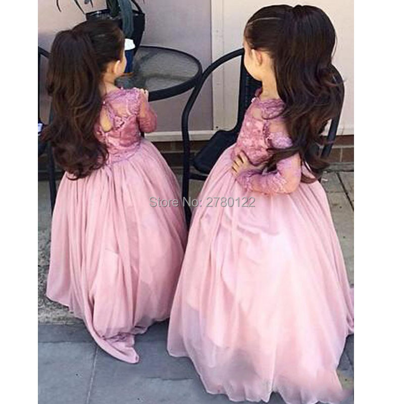 2019 New Style A-Line Chiffon High   Flower     Girls     Dresses   Full Cap Sleeve Wedding Party   Dress   Appliques Pleat For   Girls