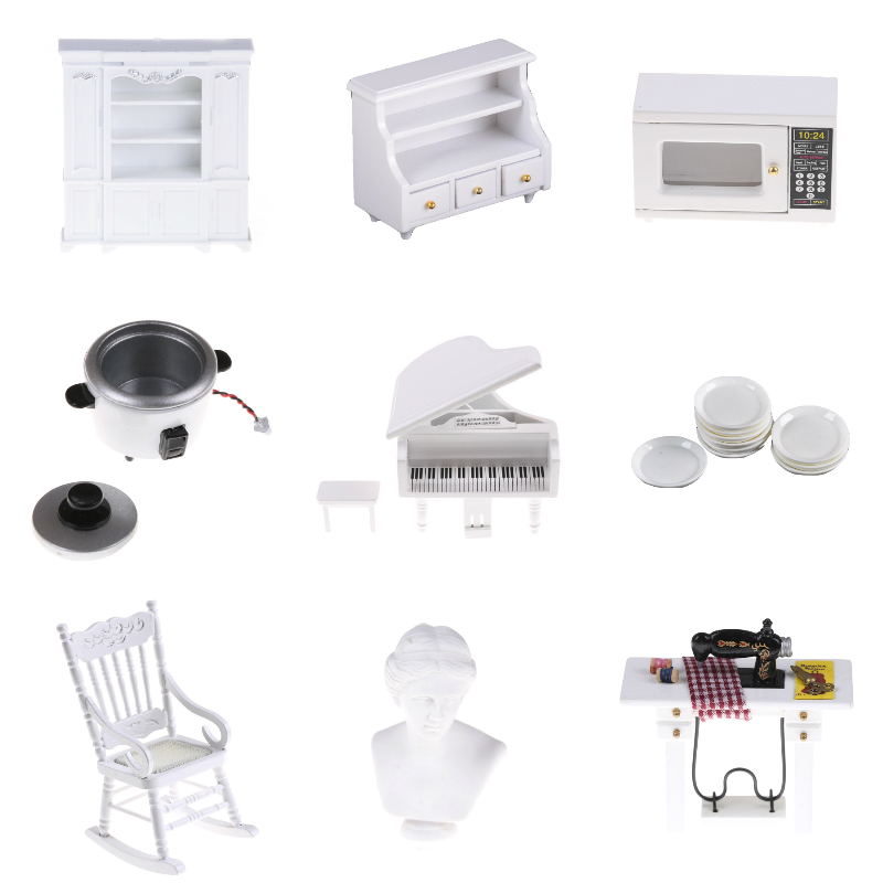 Marvelous Us 0 19 33 Off Dollhouse Miniature White Cabinet Chest Bookcase Dishes Microwave Oven Rocking Chair Sewing Venus Statue Piano Wall Rack Shelf In Theyellowbook Wood Chair Design Ideas Theyellowbookinfo