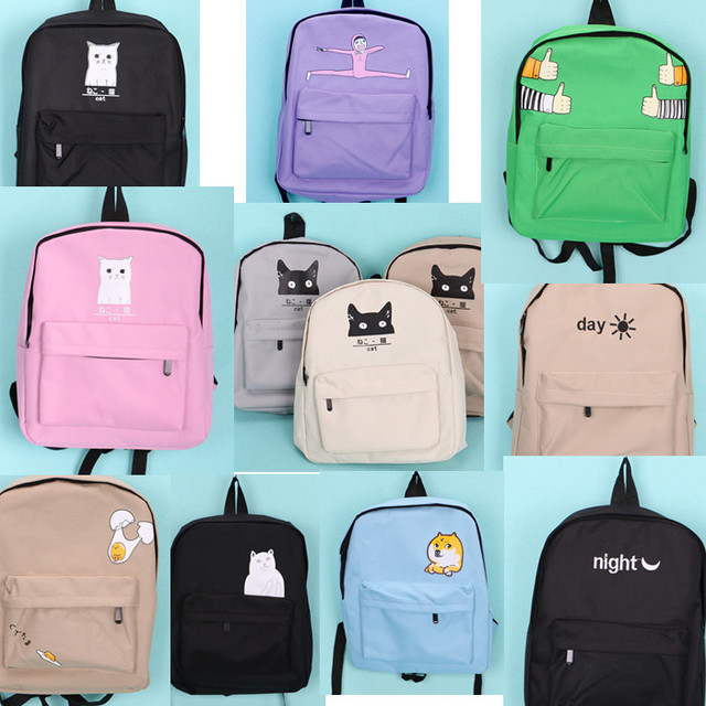 e6f4c33d3e06 Japanese Cat Printing Backpack Women Canvas Backpack School Bags For  Teenager Girls College Style Casual Backpack