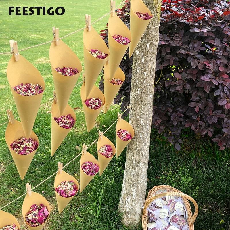 FEESTIGO 1 Set Wedding Confetti Dried Flowers Confetti Wedding Decoration Biodegradable Confetti De Mariage Naturel Rose